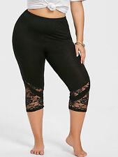 Plus Size Women Legging Pants Lace Trim Capri Skinny Leggings Cropped Tight Pant