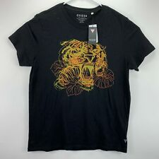 Guess Mens Embroidered Tiger Graphic T-Shirt Black L