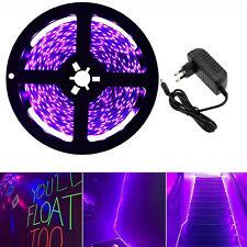 5M LED Strip UV Schwarzlicht Streifen 2835 SMD Band Lichtband mit Netzteil 12V