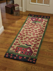 "Red House Hooked Area Rug Runner By Park Designs. Large Country Rug 24"" x72 """