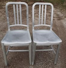 Pair Vintage Aluminum Emeco Navy Slat Back Chairs Dining/Side Industrial #6