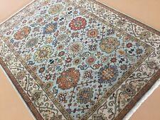 Persian Oriental Rug Serapi Hand Knotted Geometric Wool Light Blue 5' x 7'