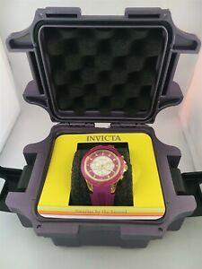 Invicta Angel Ladies Watch Purple Silicone Band Model 23575 Quartz Dive Case