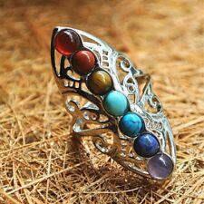 7 Chakras Healing Ring Hollow Thumb Reiki Natural Stones Adjustable Women's Ring