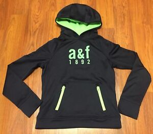 Boys Abercrombie AF Active Muscle Hoodie Polyester Navy Blue Lime Green Sz Small