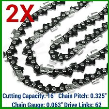 "2X CHAINSAW CHAIN 325 063 62DL FOR STIHL 16"" MS231 MS231CB-E MINIBOSS WOODBOSS"