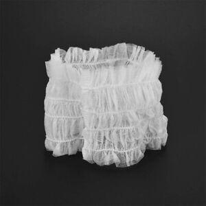 100pcs Protective Hair Cover Disposable Headband Non-Woven Hair Band White ZH UK