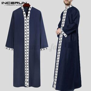 Herren Jubba Kaftan Dishdash Thobe Arabische Islamische Kleidung Langarm Kleid