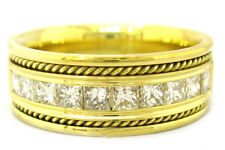10K YELLOW GOLD PRINCESS CUT DIAMOND MEN'S BAND 8.5MM 1.00CTW BRAIDED POLSIHED