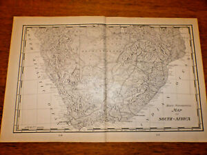 Vintage 1903 SCENIC & TOPOGRAPHICAL MAP ~ SOUTH AFRICA~ Old Original Cram Atlas