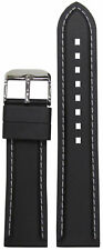 20mm Bonetto Cinturini Watch Band Model 325 Black Rubber w White Stitch 115/75
