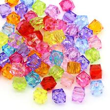 300 Mixte Perles intercalaires Verre Cristal Carré Acrylique 7x8mm B24400