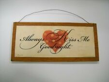 Always Kiss Me Goodnight with heart Wooden Wall Art Sign bedroom decor