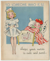 Cute Sexy Nurse Funny Get Well Greeting Card Vintage Ephemera Circa 1940s S. Co