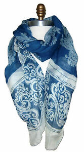 Modischer  XL Schal  Stola  Scarf  Echarpe Blau Weiß Paisley weiche Qualität Neu