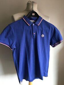 MONCLER Poloshirt kurzarm Herren blau Gr. L maglia polo mancia corta