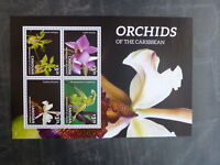 2014 CANOUAN ORCHIDS OF THE CARIBBEAN 4 STAMP MINI SHEET MNH