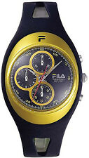 NEW Fila Mens Equinox Chrono Quartz Yellow Black Watch 205-07