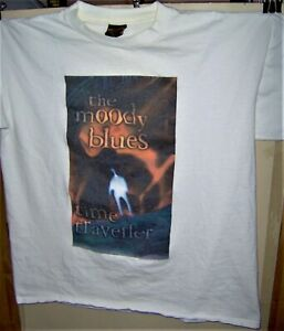 The MOODY BLUES TIME TRAVELER  Cities Pre Worn White T-Shirt Size X Large