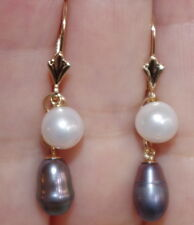 VINTAGE GORGEOUS 14K 11 MM SOUTH SEA WHITE & PURPLE  PEARL LEVER BACK EARRINGS