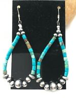 "Native American Sterling Silver Navajo Turquoise Heishi Bead Earrings 2"" 4355"