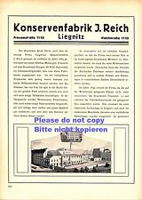 Cannery Reich Legnica XL German ad 1923 Judaica Germany Poland Liegnitz can ad +