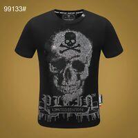 PHILIPP PLEIN Black Skull Beading Men Casual T-shirt P99133# Size M-3XL