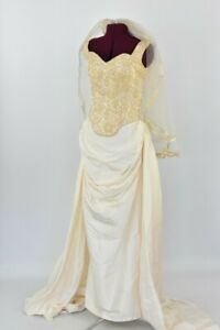 Two Piece Wedding dress with Veil Gold Bodice with silk skirt size 8