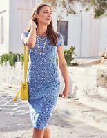 BODEN blue & White Pocket Jersey Dress Size UK14 12