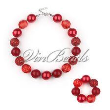 Red Chunky Beads Bubblegum Gumball Girls Jewlery Necklace&Bracelet Set