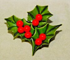 Vintage Christmas Holy Leaf Green Red Brooch Pin 12K 85