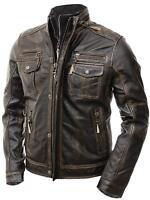 Men's Motorcycle Biker Vintage Distressed Brown Cafe Racer Real Leather Jacket