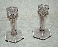 """Pair Vintage 7"""" Tall Elegant Hex Turning Purple Clear Glass Candlestick Holders"""