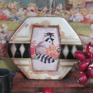 Antique 30s? Artisan CELLULOID PICTURE FRAME Dollhouse RACCOON ANIMAL PRINT