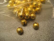 110pcs Gold Tone Stardust Ball Round Spacer Beads 6mm