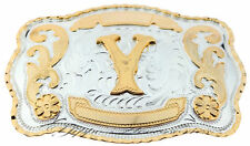 """Initial """"Y"""" Letter Large Gold & Silver Rodeo Western Cowboy Metal Belt Buckle"""