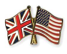 United Kingdom & USA Friendship Flags Enamel Lapel Pin Badge