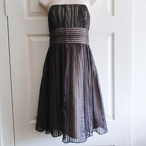 White House Black Market Dress Size 6 Sheer Black Silk Over Nude Opaque Party