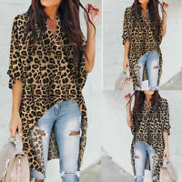 Low Print Leopard Women Hem Asymmetrical Tops High Shirt Blouse US V Neck