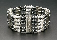 Magnetic Hematite Bracelet Black Beads Crystals Silver Plated Spacers Stretch