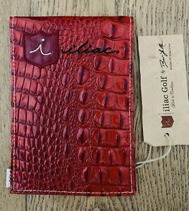 iliac Golf Yardage Book Scorecard Cover Red Leather Italian Croc USA Made New