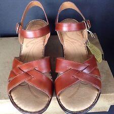 Born Sandals Belinda Women 11 Leather Brown Stacked Heel Ankle Strap Comfort New
