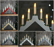 7 LED Wooden Candle Bridge Christmas Decoration Window Table Xmas Ornament Light