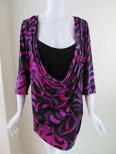 Lane Brylant Multi-color 3/4 Sleeve Cowl Neck Woman Top Blouse Size 22/24