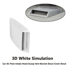 1Pc Car Ven White Front Hood Simulation Decorative 3D Air Flow Intake Vent Cover