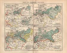 Historische Entwicklung von Preussen Wiener Kongreß Geschichte Landkarte 1889