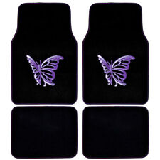 4 Piece Front and Rear Carpet Mats Car Auto Van SUV Trucks Purple Butterfly⭐⭐⭐⭐⭐