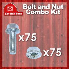 (75) 10-24x5/8 Grade 5 Serrated Hex Flange Bolts & (75) 10-24 Serr Flange Nuts