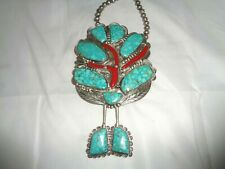"""Turquoise Red Coral Sterling Silver Bolo with 18"""" chain & pin back 268 grams"""