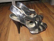 New in Box Silver Michael Kors Niki Cross Strap Heels, Size 9